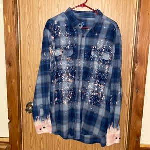 Boutique bleached/distressed button down flannel